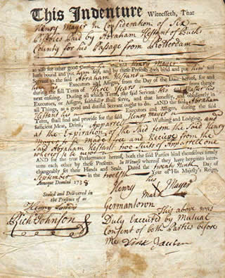 Indentured servitude contract.