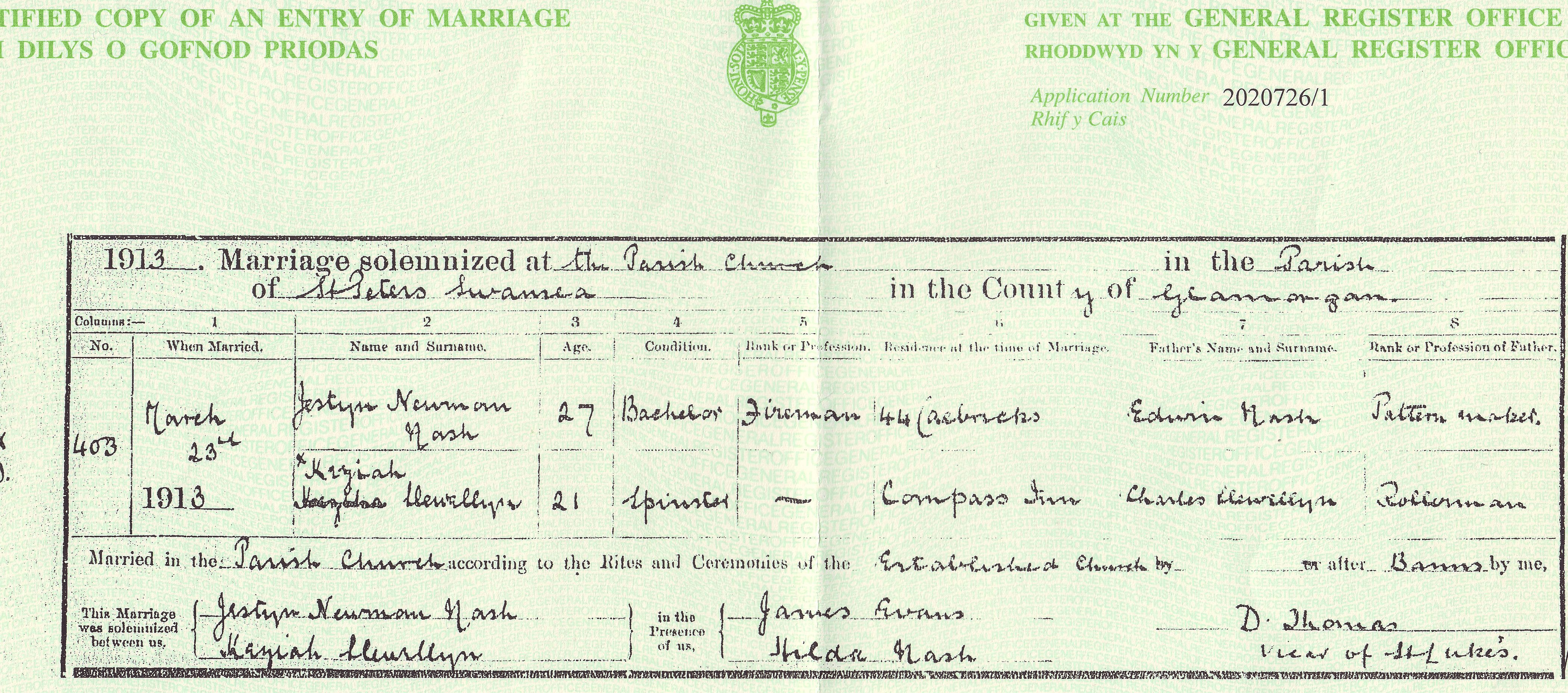 How to Search Wales Genealogy Records featured by top professional genealogists, Price Genealogy: image of Welsh marriage certificate