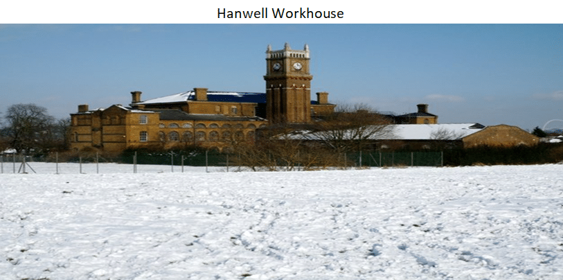 Workhouse Records Part 2 by popular US professional genealogists, Price Genealogy: image of a Hanwell Workhouse.