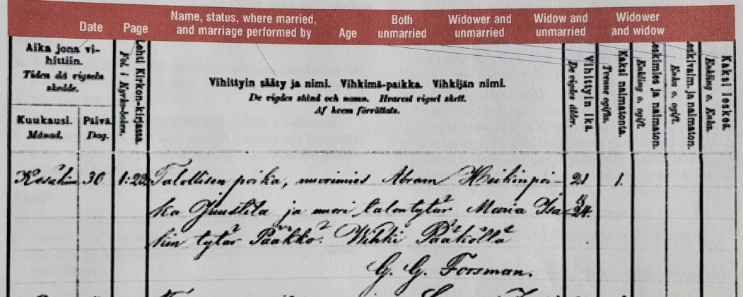 Finland Genealogy by popular US online genealogists, Price Genealogy: image of a Finnish marriage record.