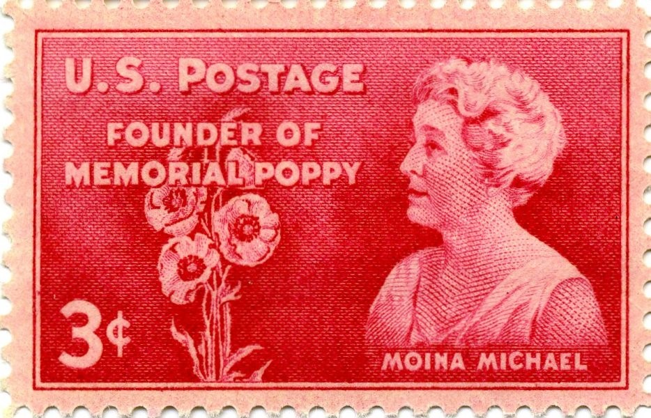 Memorial Day Genealogy by popular US online genealogists, Price Genealogy: image of a vintage Moina Michael Memorial Poppy U.S. postage stamp.