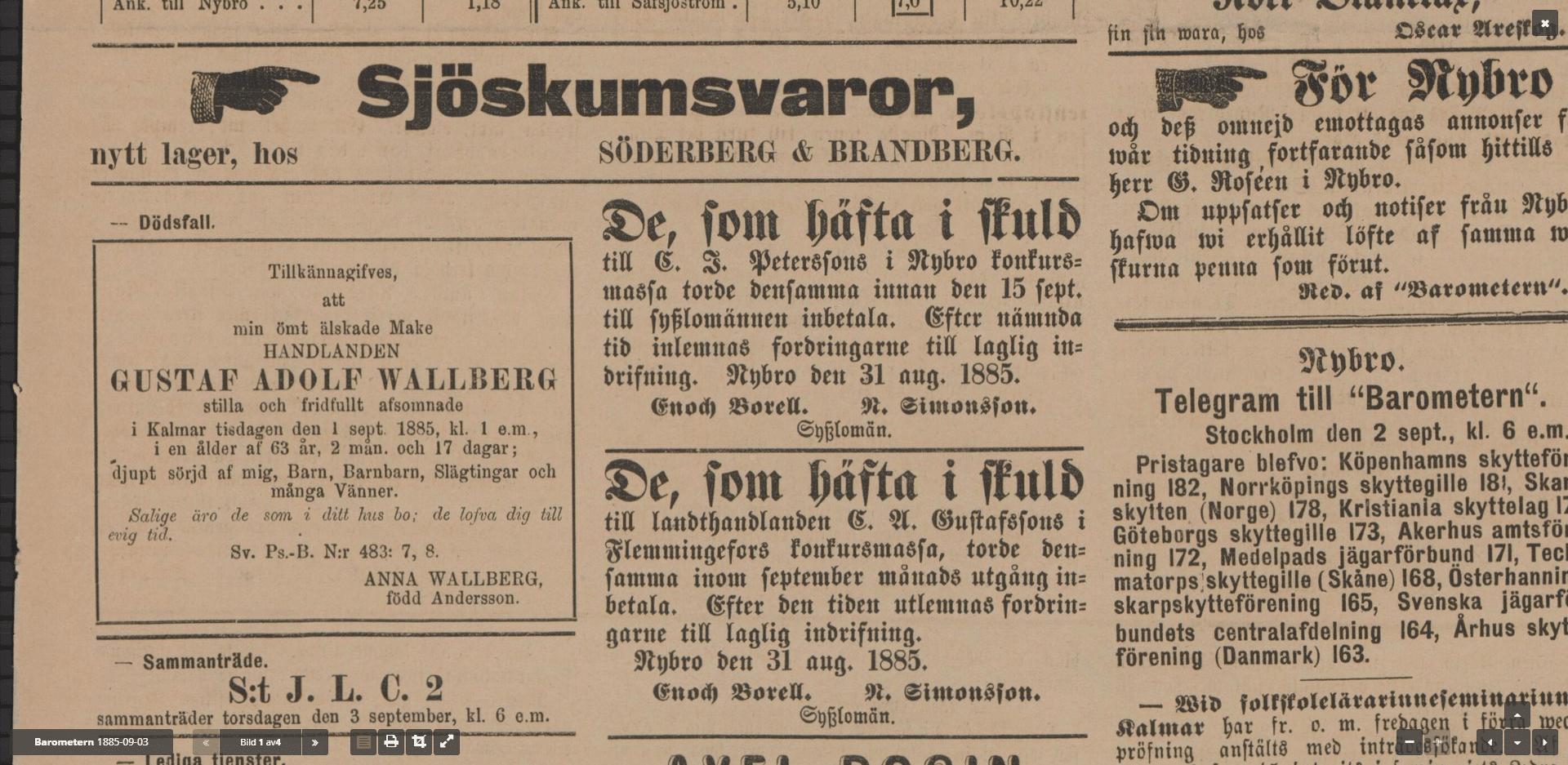 Swedish Genealogy by popular US online genealogists, Price Genealogy: image of a Swedish newspaper clipping.