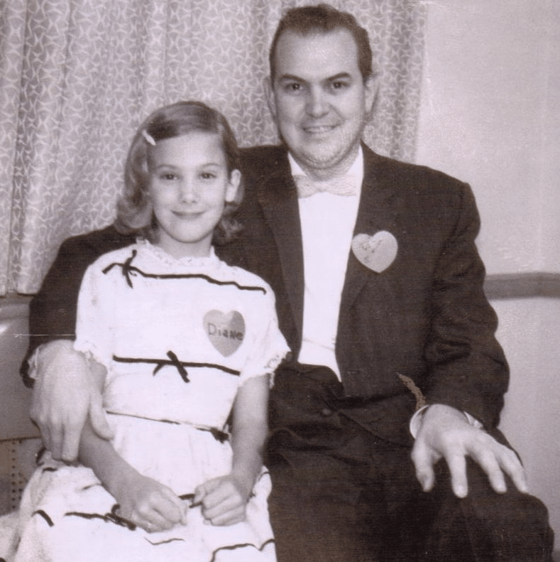Inspirational Father Quotes by popular US online genealogists, Price Genealogy: black and white image of a father and daughter sitting next to each other.