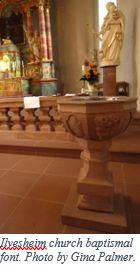 German Genealogy by popular US online genealogists, Price Genealogy: image of a church baptismal font.