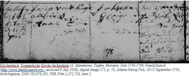 German Genealogy by popular US online genealogists, Price Genealogy: image of a German family record.