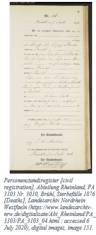 German Genealogy by popular US online genealogists: image of a German genealogy record.