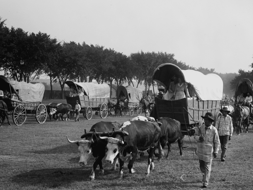 Pioneer Day by popular US online genealogists, Price Genealogy: black and white image of people driving covered wagons.