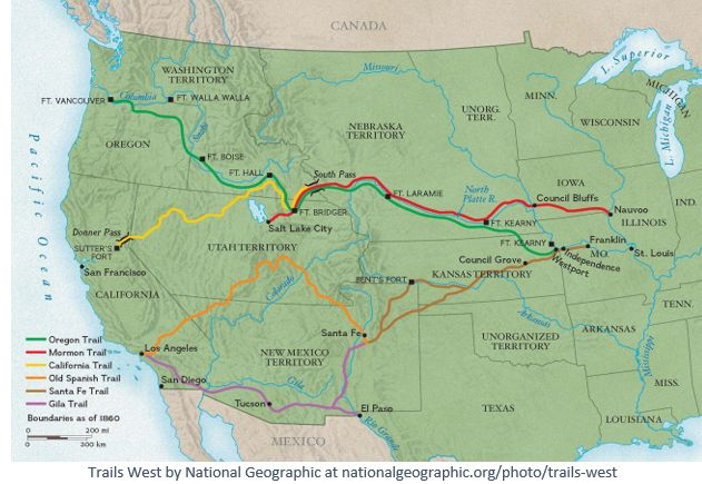 Pioneer Day by popular US online genealogists, Price Genealogy: image of a National Geographic map showing the Trails west.