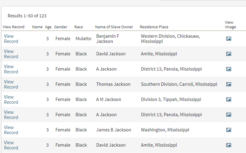 African American Genealogy by popular US online genealogists, Price Genealogy: image of a online search results page.