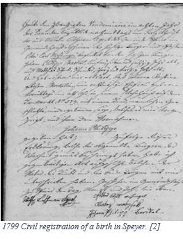 German Genealogy by popular US online genealogists, Price Genealogy: image of a German civil registration document.