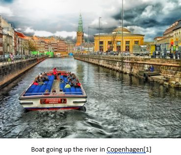 Danish Research by popular US online genealogists, Price Genealogy: image of a boat going up the river in Copenhagen.