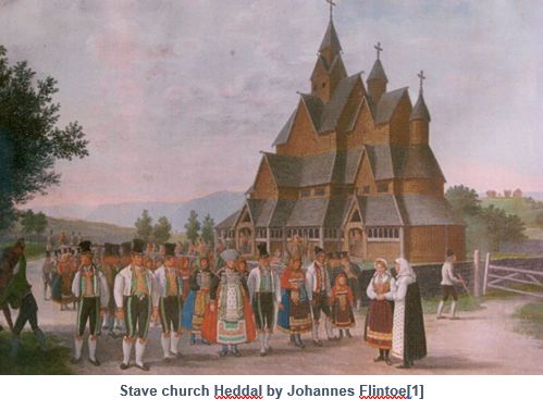 Norwegian Genealogy by popular US online genealogists, Price Genealogy: image of the painting Stave Church Heddal by Johannes Flintoe.