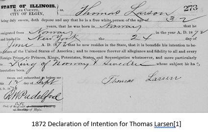 Norwegian Genealogy by popular US online genealogists, Price Genealogy: image of a declaration of intention.