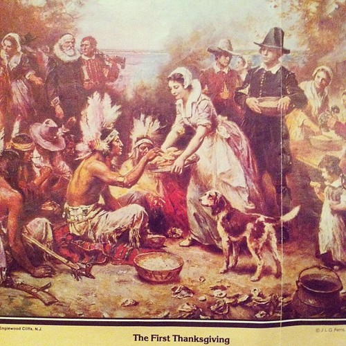Mayflower Descendants by popular US online genealogists, Price Genealogy: image of a painting of The First Thanksgiving.