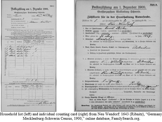 German Census Records by popular US online genealogists, Price Genealogy: image of a German census record.