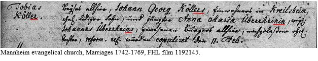 German Naming Customs by popular US online genealogists, Price Genealogy: image of a German Evangelical church record.