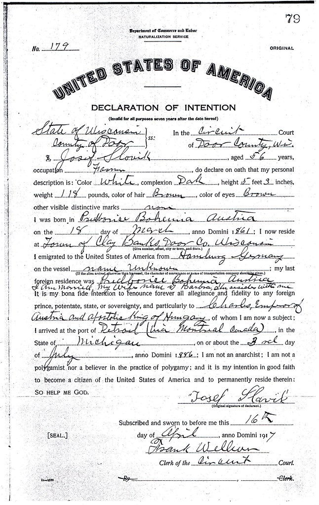 Naturalization Research by popular US online genealogists, Price Genealogy: image of a United States of America Declaration of Intention.
