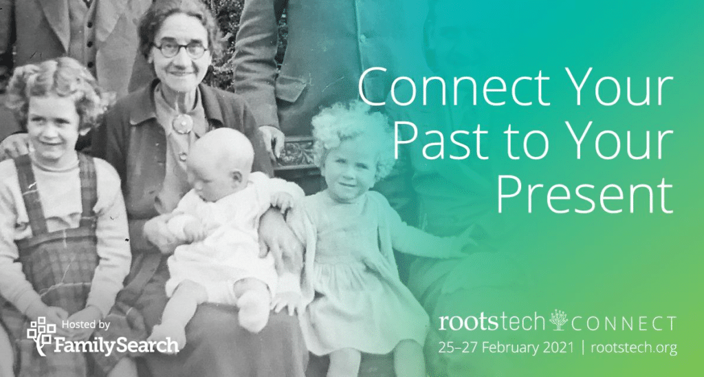 RootsTech 2021 by popular US online genealogists, Price Genealogy: RootsTech digital ad.