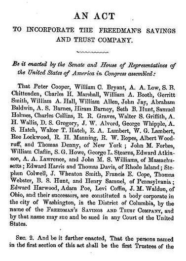 Freedman's Bank Records by popular US online genealogists, Price Genealogy: image of An Act document.