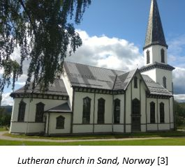 Homelands in Norway by popular US online genealogists, Price Genealogy: image of a Lutheran church in Sand, Norway.