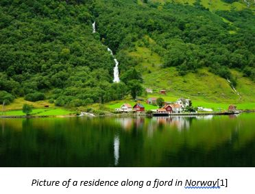 Homelands in Norway by popular US online genealogists, Price Genealogy: image of homes next to a fjord in Norway.