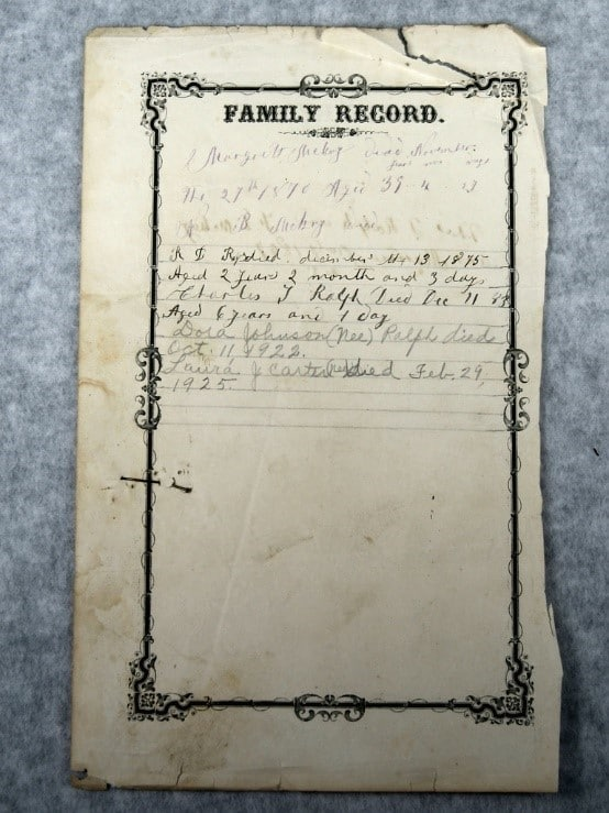Children Who Died Young by popular US online genealogists, Price Genealogy: image of a family record.