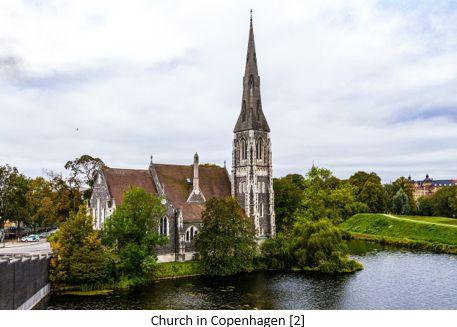 Danish Research by popular US online genealogist, Price Genealogy: image of a church in Copenhagen, Denmark.
