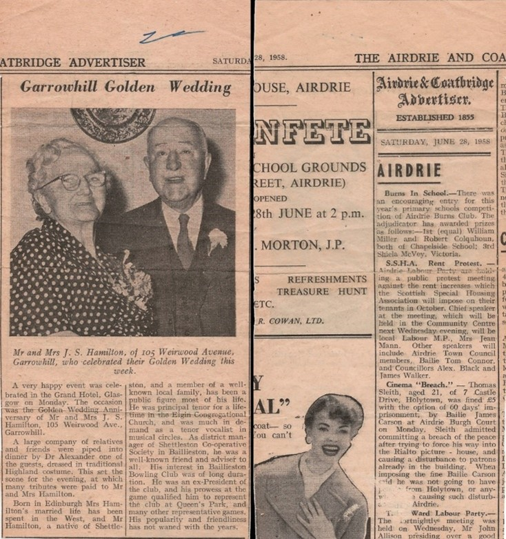 Newspaper Research by popular US online genealogists, Price Genealogy: image of a 1958 newspaper.