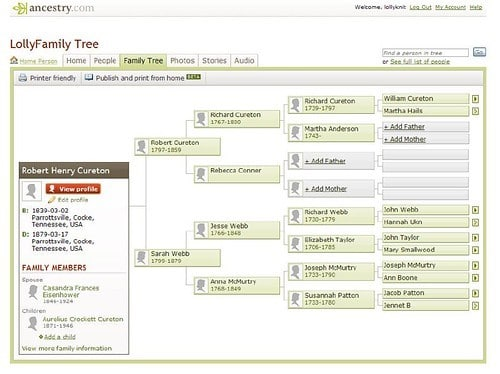 Newspaper Research by popular US online genealogists, Price Genealogy: screenshot image of a ancestry.com family tree.