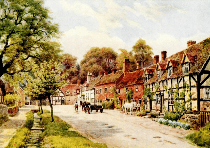 English Census Substitutes by popular US online genealogists, Price Genealogy: painting of a person pulling a horse drawn cart along a dirt road that runs in front of some English row houses.