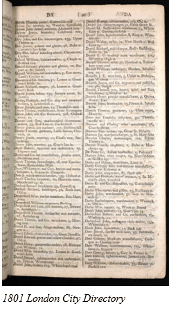 English Census Substitutes by popular US online genealogists, Price Genealogy: image of a 1801 London city directory.