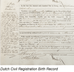 Civil Registration by popular US online genealogists, Price Genealogy: image of a Dutch civil registration birth record.