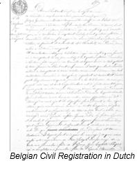 Civil Registration by popular US online genealogists, Price Genealogy: image of Belgian Civil Registration.