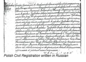 Civil Registration by popular US online genealogists, Price Genealogy: image of a Polish civil registration.