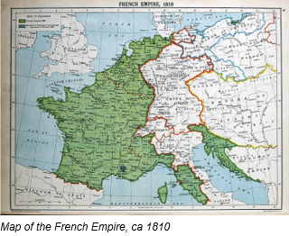 Napoleonic Code by popular US online genealogists, Price Genealogy: image of a European map.