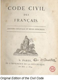 Napoleonic Code by popular US online genealogists, Price Genealogy: image of the Napoleonic code.