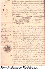Napoleonic Code by popular US online genealogists, Price Genealogy: image of a French marriage registration.