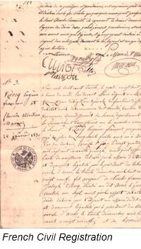 Civil Registration by popular US online genealogists, Price Genealogy: image of French Civil registration.
