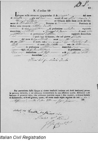Civil Registration by popular US online genealogists, Price Genealogy: image of Italian civil registration.