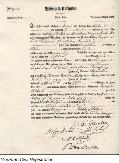 Civil Registration by popular US online genealogists, Price Genealogy: image of German civil registration.