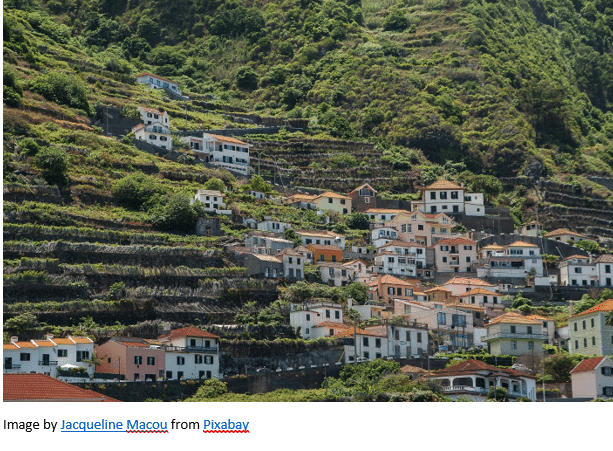 Madeira Archives by popular US online genealogists, Price Genealogy: image of stucco buildings with red tile roofs on a hillside in Madeira.