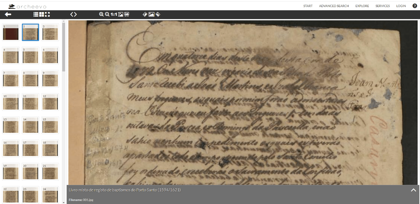 Madeira Archives by popular US online genealogists, Price Genealogy: image of a Madeira document.