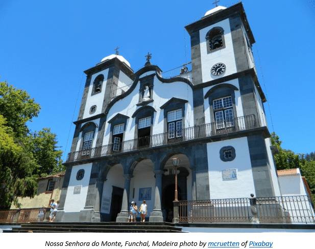 Madeira Research by popular US online genealogists, Price Genealogy: image of a white cathedral.