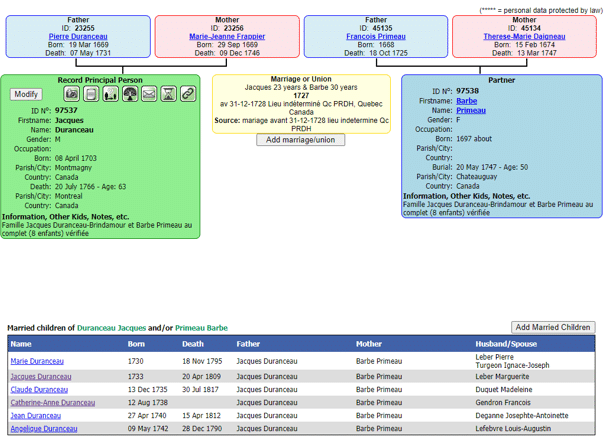 Canada Genealogy by popular US online genealogists: screenshot image of a Family Search ancestry line.