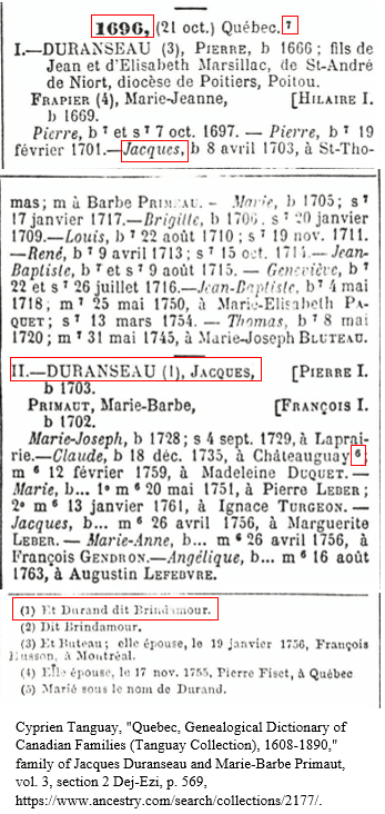 Canada Genealogy by popular US online genealogists: screenshot image of a French Canadian obituary.